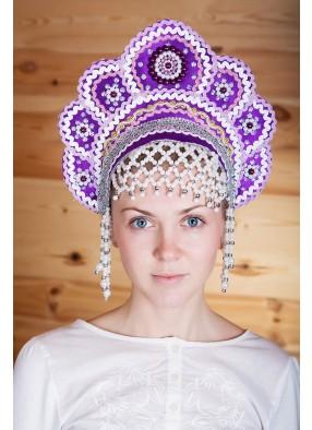 Фиолетовый народный кокошник