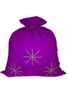 Фиолетовый новогодний подарочный мешок Серебристые снежинки