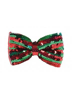 Галстук-бабочка с красно-зелеными пайетками