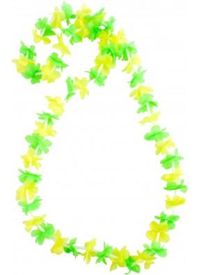 Гавайское ожерелье желто-зеленое из маленьких цветочков