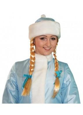Голубая шапка Снегурочки на парик