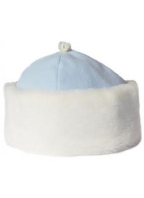 Голубая шапка Снегурочки с мехом