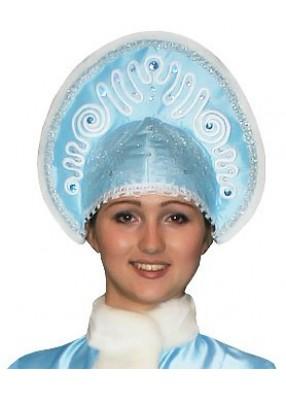 Голубой морозный Кокошник Снегурочки