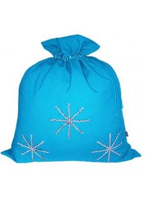 Голубой новогодний подарочный мешок Серебристые снежинки