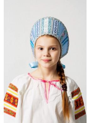 Голубой русский народный кокошник