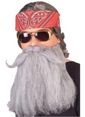 Густая серая борода с усами