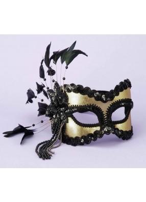 Карнавальная черно-золотая маска фото
