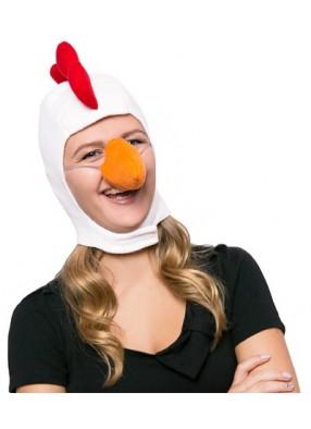 Карнавальная шапка белая курица взрослая