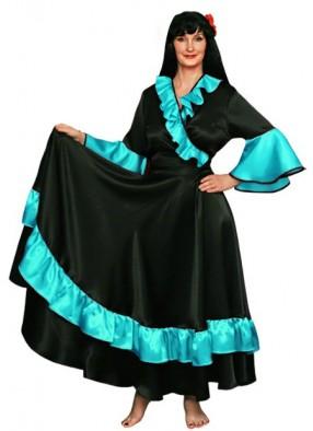 Карнавальный костюм Цыганки черно-бирюзовый