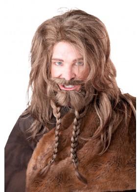 Каштановый парик и борода викинга