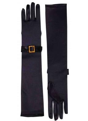 Классические черные перчатки с отделкой