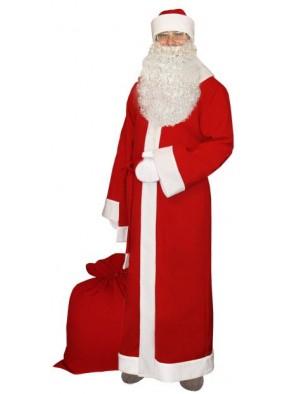 Классический новогодний костюм Деда Мороза с бородой
