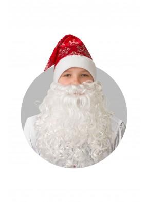Колпак красный с бородой и снежинками фото