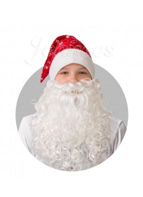 Колпак красный с бородой из плюша со снежинками фото