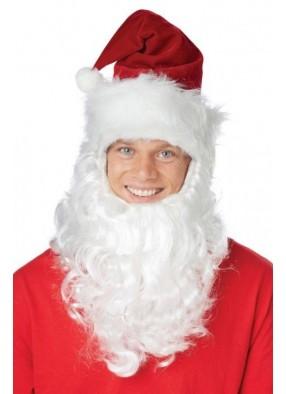 Колпак Санта Клауса с бородой фото