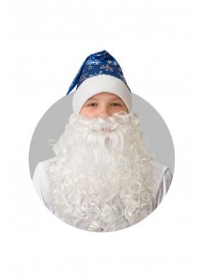 Колпак синий с бородой и снежинками фото