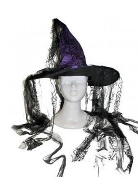 Колпак ведьмы фиолетовый с паутиной