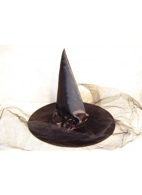 Колпак ведьмы с вуалью черный