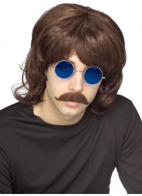 Коричневый мужской парик 70-х фото
