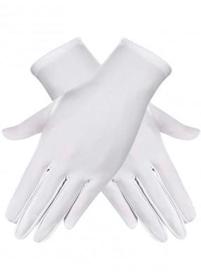 Короткие белые атласные перчатки