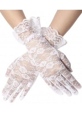 Короткие белые гипюровые перчатки с оборками
