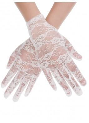 Короткие белые гипюровые перчатки