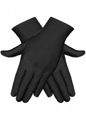 Короткие черные атласные перчатки