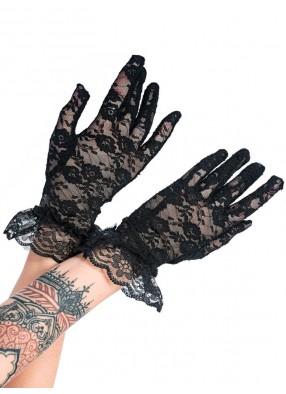 Короткие черные гипюровые перчатки с оборками
