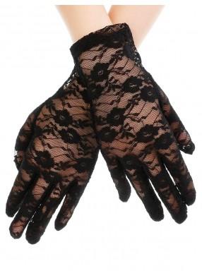 Короткие черные гипюровые перчатки