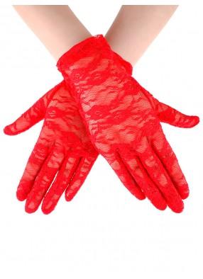 Короткие красные гипюровые перчатки