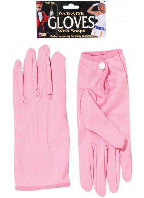 Короткие розовые перчатки с кнопочкой