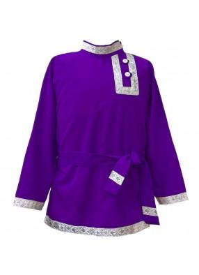 Косоворотка фиолетовая с бело-серебрянной тесьмой
