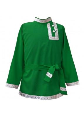 Косоворотка зеленая с бело-серебрянной тесьмой
