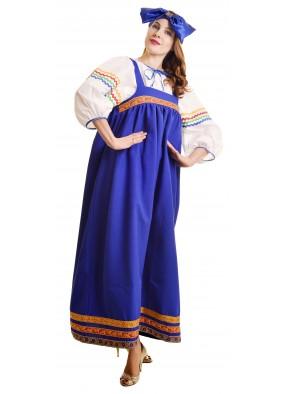 Костюм барыня в синем сарафане женский фото