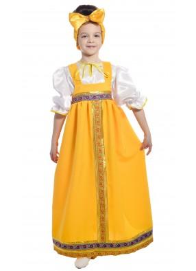 Костюм барыня в желтом сарафане детский фото