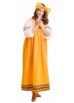 Костюм барыня в желтом сарафане женский фото