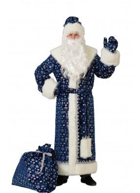 Костюм Дед Мороз синий плюш фото