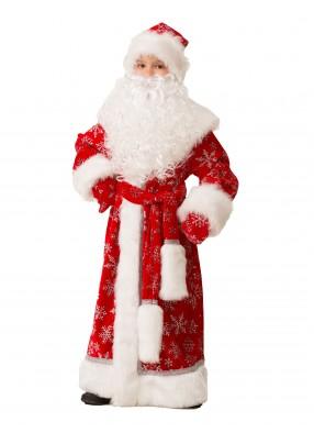 Костюм Деда Мороза велюровый красный фото