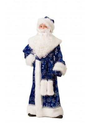 Костюм Деда Мороза велюровый синий фото