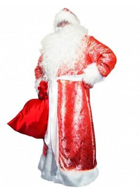 Костюм Деда Мороза жаккардовый красный