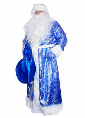 Костюм Деда Мороза жаккардовый синий