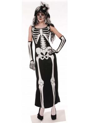 Костюм Девушка скелет в длинном платье взрослый