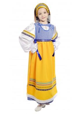 Костюм народный с фартуком детский синий фото