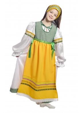 Костюм народный с фартуком детский зеленый фото