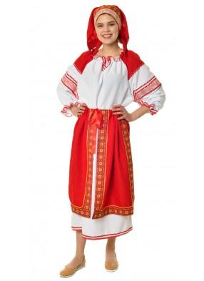 Костюм народный с красной поневой женский фото