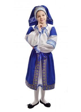 Костюм народный с синей поневой детский фото