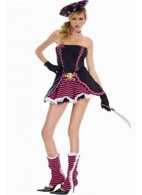 Костюм Пиратки с розовыми черепами 1 фото