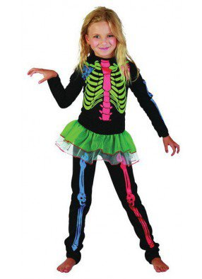 Костюм разноцветного скелета для девочки