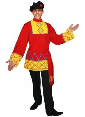 Костюм Русская народная рубаха Петр с поясом красная