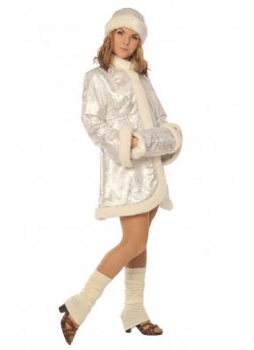 Серебристый костюм Снегурочки мини